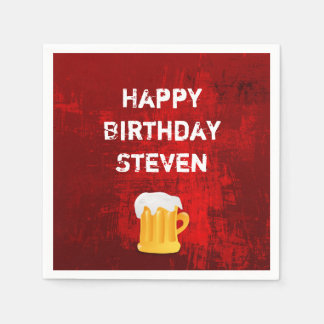 Happy Birthday Beer Mug on Grunge Red Abstract Paper Napkins