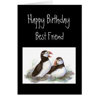 Happy Birthday, Best Friend, Cute Puffins, Birds Greeting Card