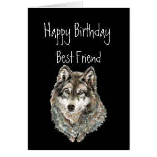 Happy Birthday, Best Friend, Wolf, Wolves, Animal Cards