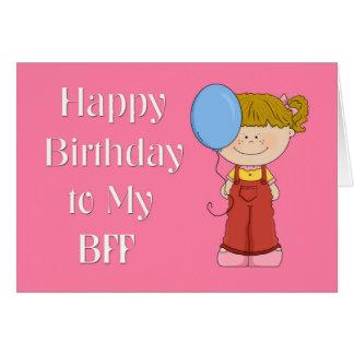 Happy Birthday BFF, Girl with Balloon Card
