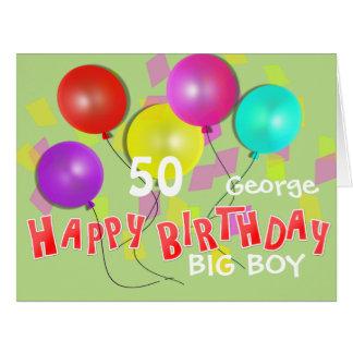 Happy Birthday Big Boy 50th Milestone Personalized Big Greeting Card