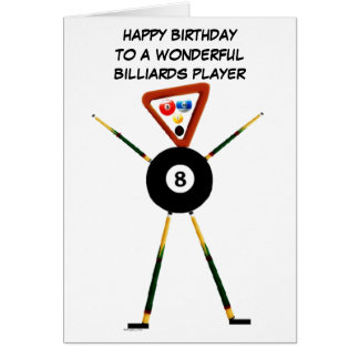 Happy Birthday Billiards Player Card
