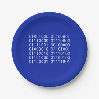 Happy Birthday  Binary Code Your Colors Paper Plate