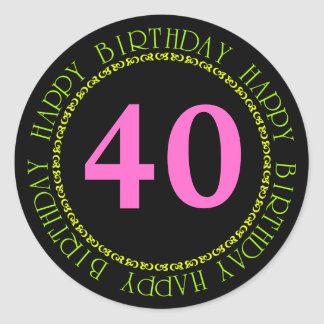 Happy Birthday Black and Pink Age Template Sticker Round Stickers