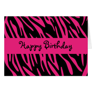 Happy Birthday Black and Pink Zebra Stripe Card