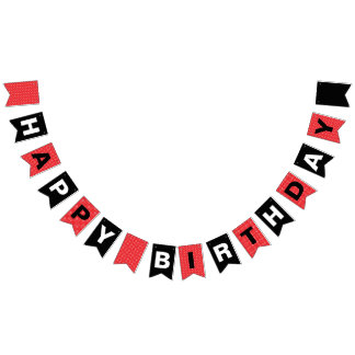 Happy Birthday Black and Red with White Polka Dots Bunting Flags