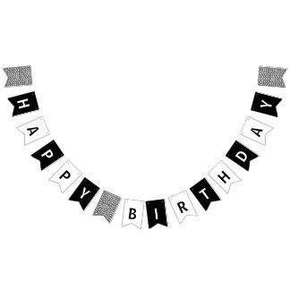 Happy Birthday Black and White Bunting Flags