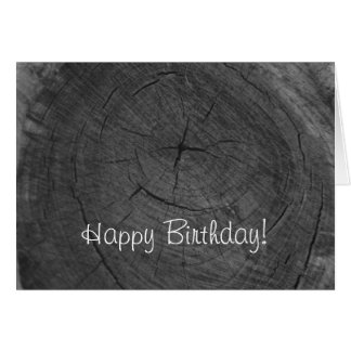 Happy Birthday black and white tree rings Card
