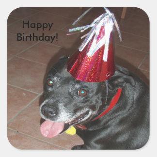 Happy Birthday Black Dog with Red Hat Square Sticker