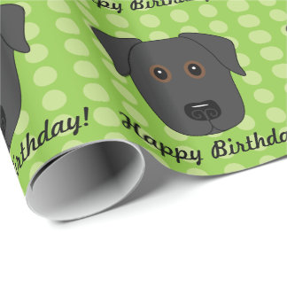 Happy Birthday Black Lab Dog Wrapping Paper