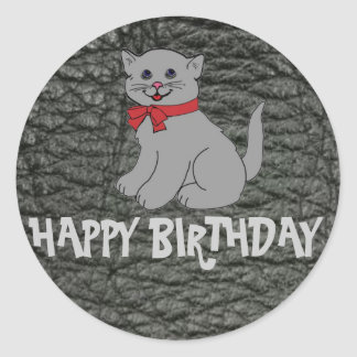 Happy Birthday Black Leather Effect Classic Round Sticker