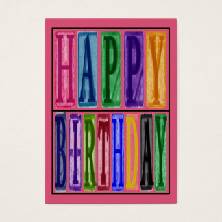 Happy Birthday Blocks Gift Tag Business Card
