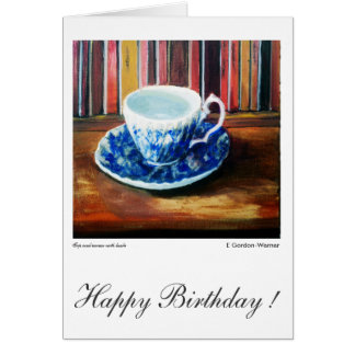 Happy Birthday, blue and white china with books Card