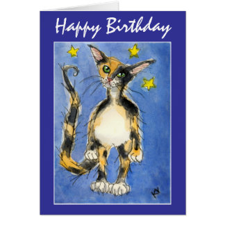 Happy Birthday Blue Cat greeting card