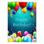 Happy Birthday - Blue Coloured Balloons - Card