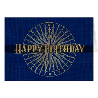 Happy Birthday Blue Compass 3D Effect Design Card
