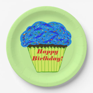 Happy Birthday Blue Cupcake Paper Plates
