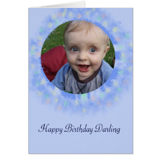 Happy Birthday Blue Custom Photo Greeting Card