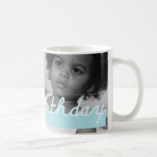 Happy Birthday Blue Cut Outs Add Photo Coffee Mugs
