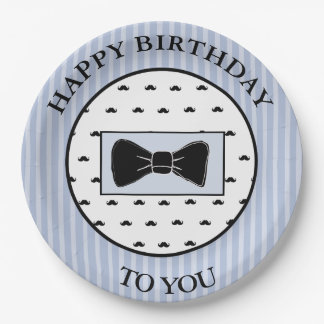 Happy Birthday Blue Mustache and Bowtie Plates