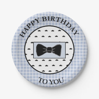 Happy Birthday Blue Mustache & Bowtie Cake Plates