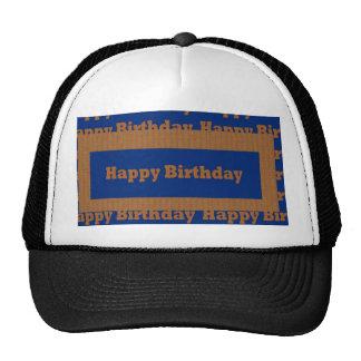 Happy Birthday Blue n Gold Art by NavinJOSHI GIFTS Mesh Hat