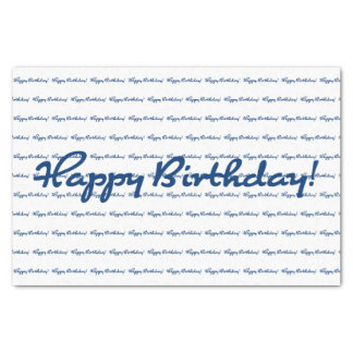 Happy Birthday! Blue Repeating Pattern Tissue Paper