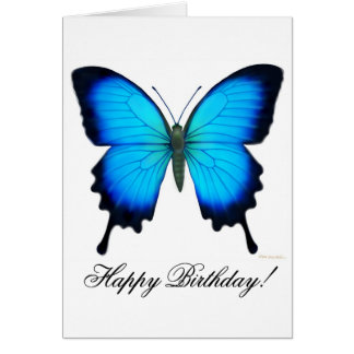 Happy Birthday Blue Ulysses Butterfly Card