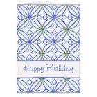 Happy Birthday Blue Watercolor Art Nouveau Card