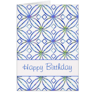 Happy Birthday Blue Watercolor Art Nouveau Card