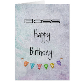 Happy Birthday Boss - Fr. All of us - Grunge/Flags Greeting Card