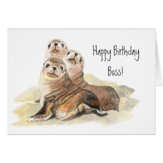 Happy Birthday Boss from Group of Cute Seals Greeting Card