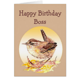 Happy Birthday Boss Watercolor House Wren Bird Greeting Cards