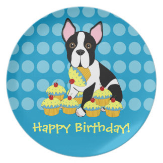 Happy Birthday Boston Terrier Cupcakes Plate