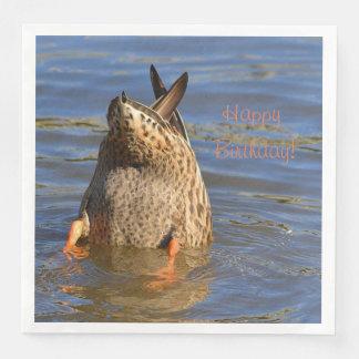 Happy Birthday Bottoms Up Duck Paper Dinner Napkin