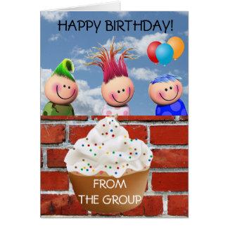 Happy Birthday Brick Wall and Cupcake Card