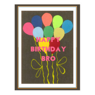 Happy Birthday Bro Postcard Horizontal Template