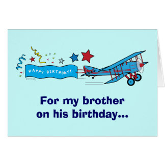 Happy Birthday Brother Airplane Card