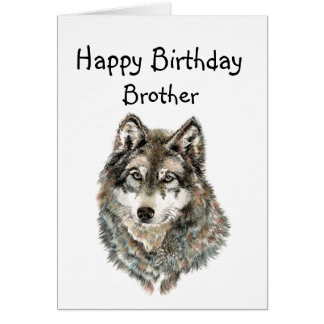 Happy Birthday Brother Humor Wolf, Wolves Greeting Card