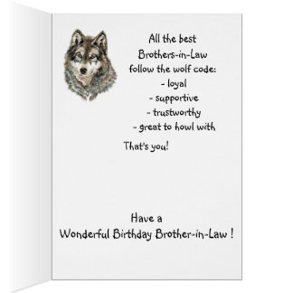 Happy Birthday Brother-in-Law Humor Wolf, Wolves Greeting Card