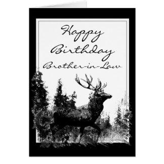Happy Birthday Brother-in-Law Vintage Stag, Deer Greeting Card