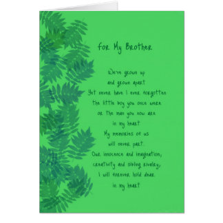 Happy Birthday Brother Original Poetry Card