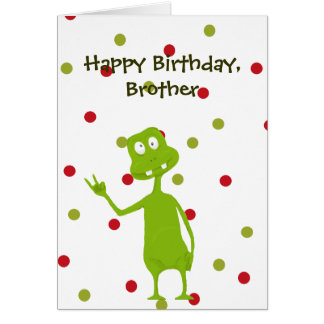 Happy Birthday Brother Space Alien Greeting Card