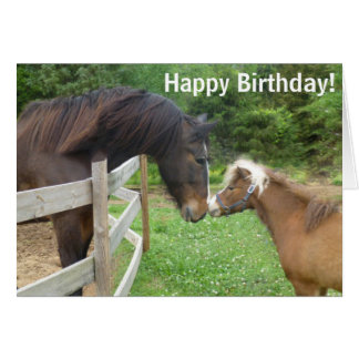 Happy  Birthday Brown Miniature Draft Shire Horse Card