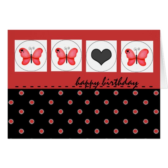 Happy Birthday Butterflies and Polka Dot Red Card