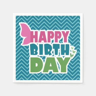 Happy birthday butterfly blue paper party napkins