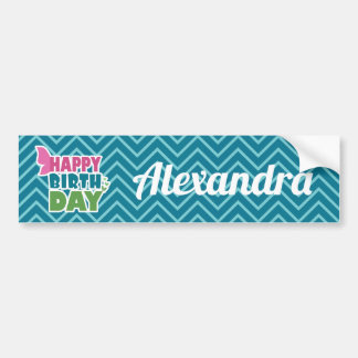 Happy birthday butterfly personalized name sticker