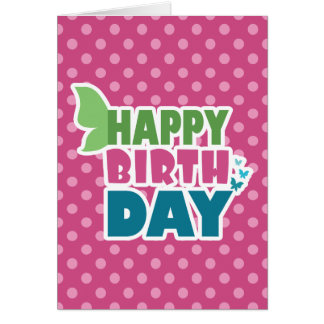 Happy birthday butterfly polka dots greeting card