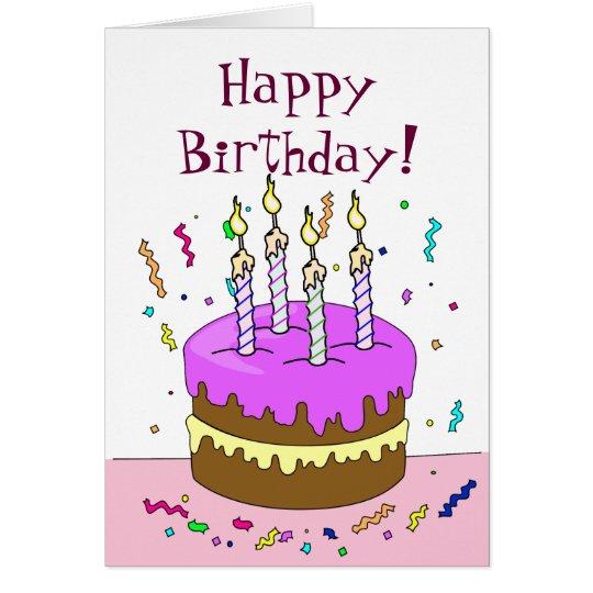 Happy Birthday! Cake 4 YEAR Card