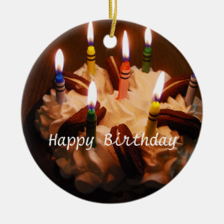 Happy Birthday Cake Ceramic Ornament